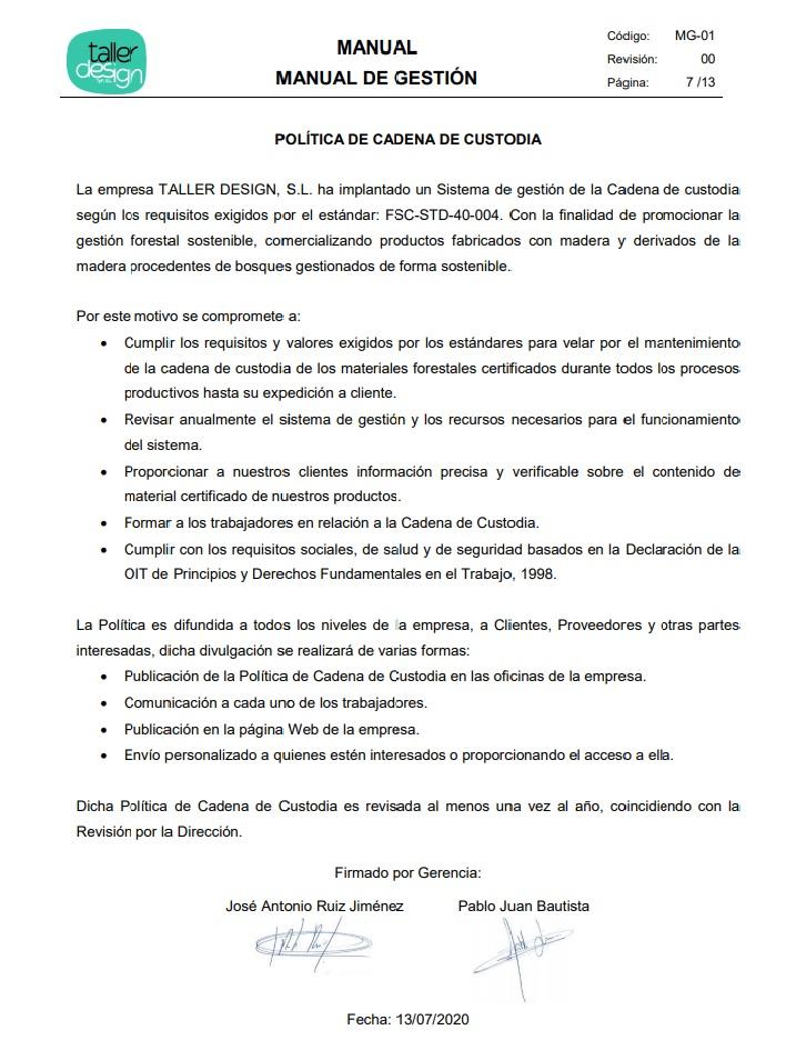 Documento certificación